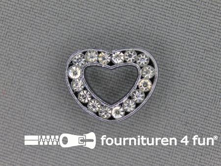 Halsband decoratie 12mm  hartje - strasstenen