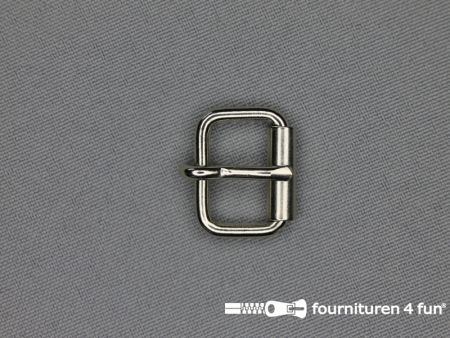Metalen rolgesp 16mm zilver