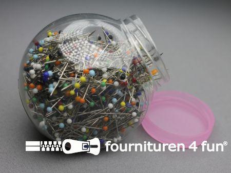 Kopspelden (plastic kop) 0.60x30mm - multicolor - pot met ca. 1000 stuks