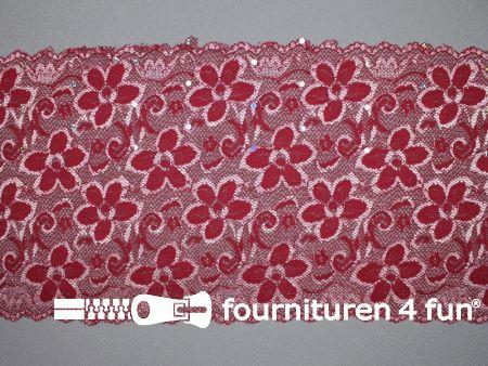Elastisch kant met pailletten 185mm bordeaux rood