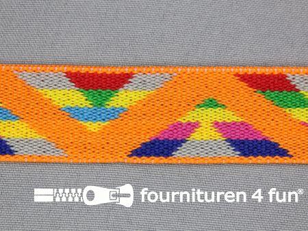Elastiek multicolor 25mm oranje grijs