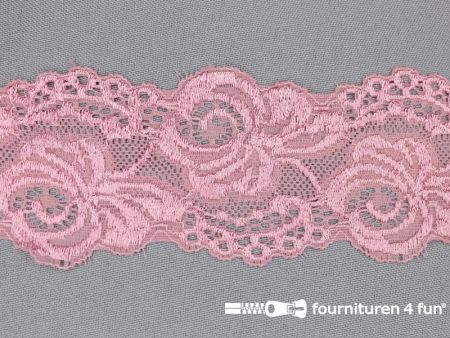 Elastisch entredeux kant 59mm oud roze