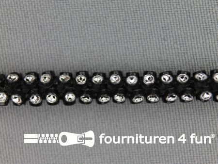 Strass koord 6mm zwart - zilver