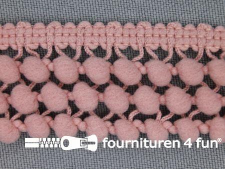 Mini bolletjesband 24mm licht oud roze