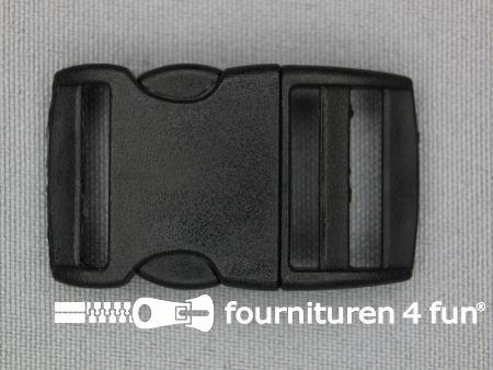 Gebogen parachute gesp budget 20mm zwart - kunststof