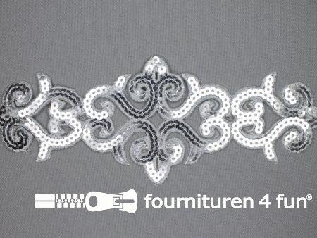 Pailletten applicatie 83x210mm zilver