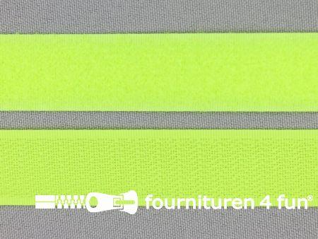 Rol 25 meter klittenband 20mm neon geel