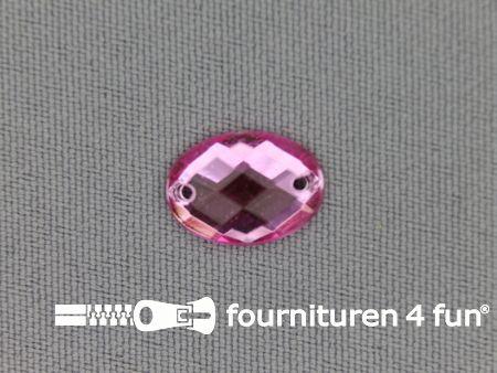 10 stuks Strass stenen ovaal 10x14mm licht roze