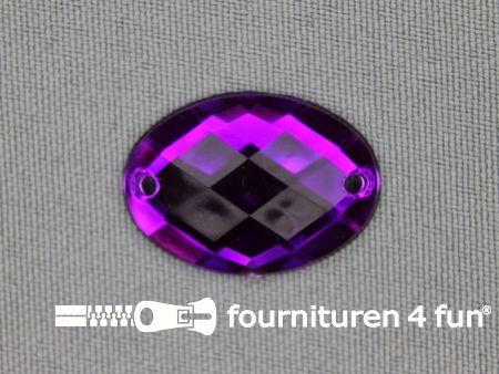 10 stuks Strass stenen ovaal 25x18mm paars