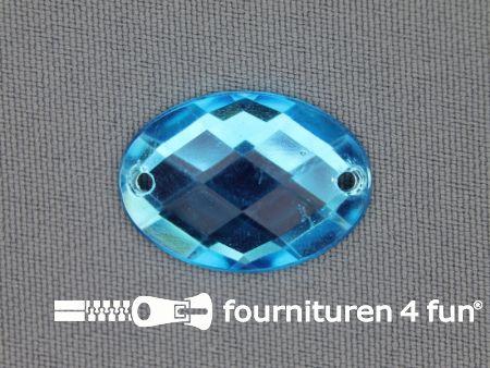 10 stuks Strass stenen ovaal 25x18mm aqua blauw
