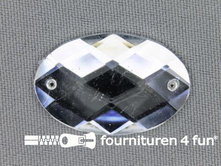 5 stuks Strass stenen ovaal 30x20mm zilver