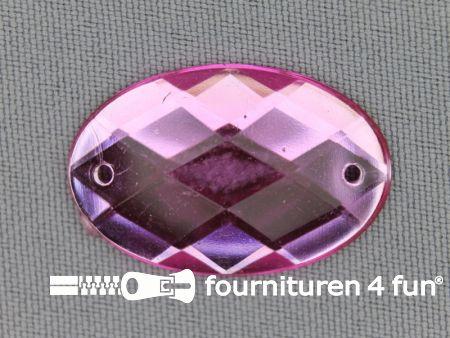 5 stuks Strass stenen ovaal 30x20mm licht roze