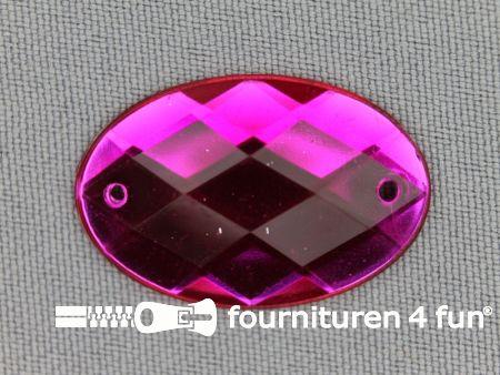 5 stuks Strass stenen ovaal 30x20mm fuchsia roze