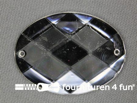 5 stuks Strass stenen ovaal 40x30mm zilver