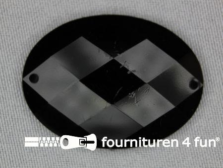 5 stuks Strass stenen ovaal 40x30mm zwart