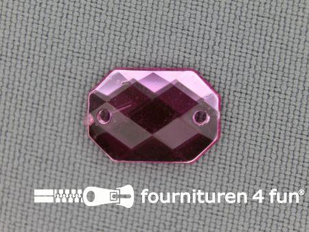 10 stuks Strass stenen rechthoek 14x10mm licht roze