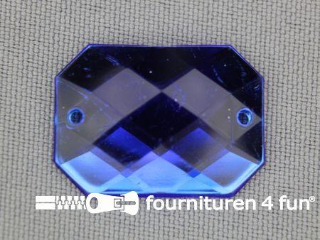 5 stuks Strass stenen rechthoek 25x18mm kobalt blauw