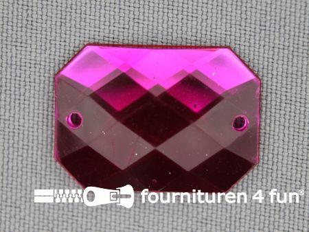 5 stuks Strass stenen rechthoek 25x18mm fuchsia roze