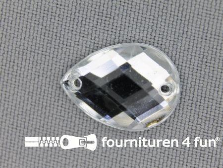 10 stuks Strass stenen druppel 14x18mm zilver