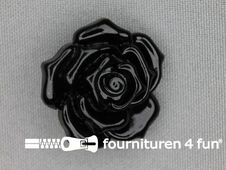 Bloemen knoop 30mm roos zwart