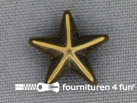 40 stuks Studs 15mm ster brons