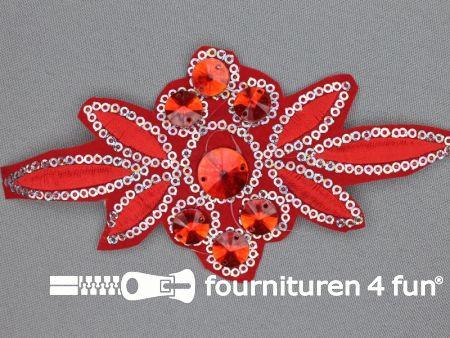 Pailletten applicatie 140x75mm rood - zilver