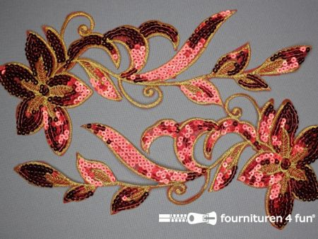 Pailletten applicatie 310x140mm rood - goud per paar