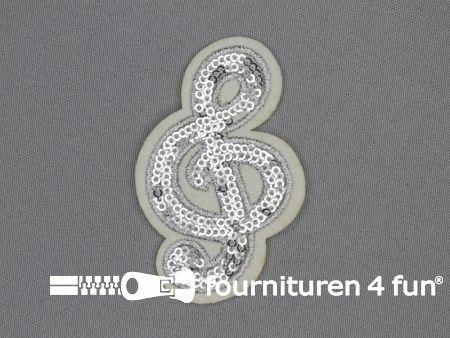 Pailletten applicatie 79x50mm solsleutel zilver - wit