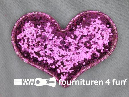 Pailletten applicatie 63x48mm barbie roze hartvormig kussentje