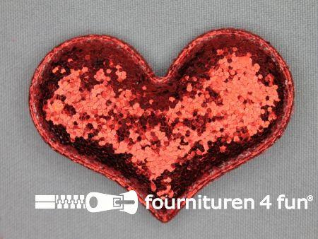 Pailletten applicatie 63x48mm rood hartvormig kussentje
