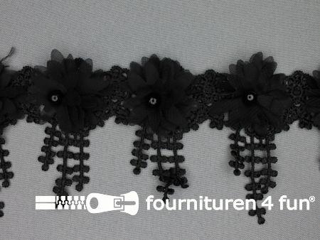 Bloemen franje 90mm zwart