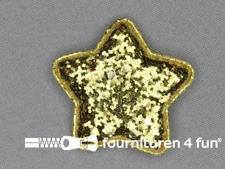 Pailletten applicatie 47x47mm goud stervormig kussentje