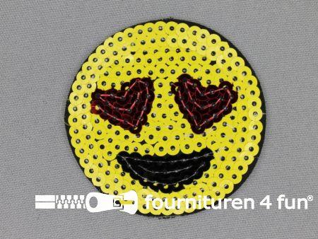Pailletten applicatie 65mm rond smiley
