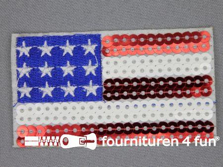 Pailletten applicatie 78x45mm vlag America