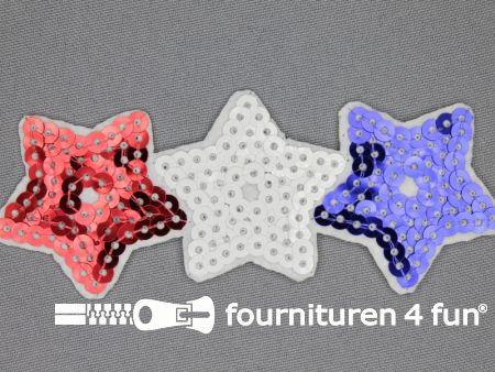 Pailletten applicatie 108x40mm rood wit blauw - sterren