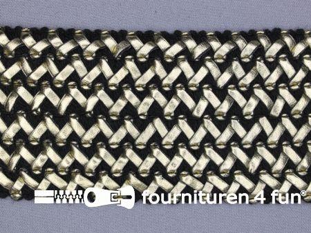 Design elastiek 70mm leather-look - zwart goud