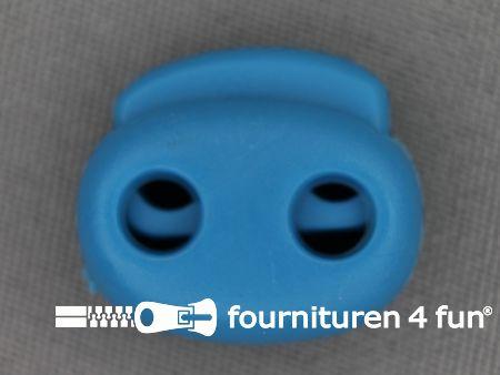 Koord stopper 21mm dubbel aqua blauw