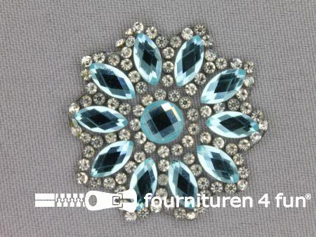 Strass decoratie opstrijkbaar rond 39mm licht aqua blauw zilver
