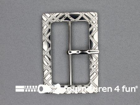 Metalen gesp 50mm zilver