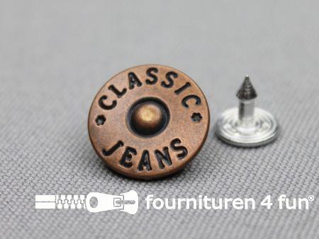 Jeansknopen 16mm oud koper 8 stuks