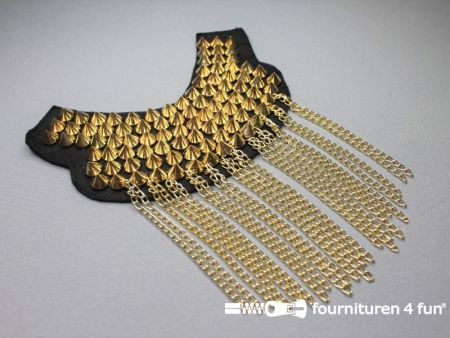 Steampunk schouder epaulet 175x120mm goud