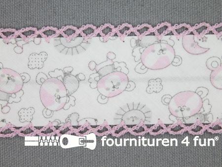 Print biasband 36mm beertjes baby roze