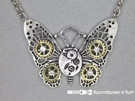 Steampunk ketting vlinder 45x55mm