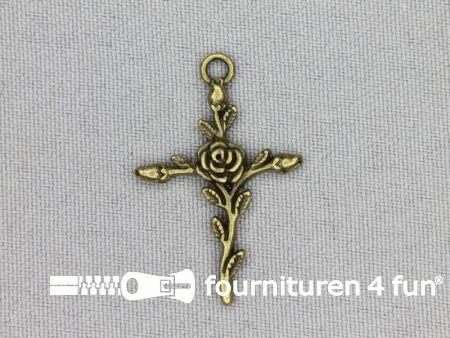 Steampunk hanger 22x32mm kruis met roos brons