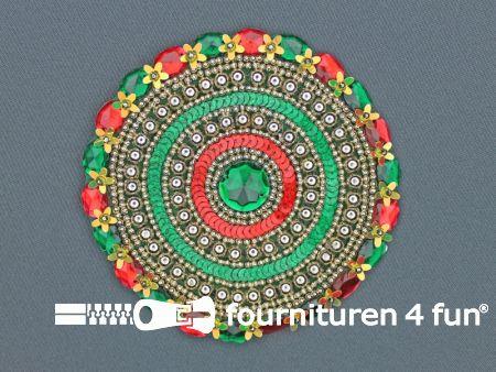 Broche 120mm rood - geel - groen - groene steen