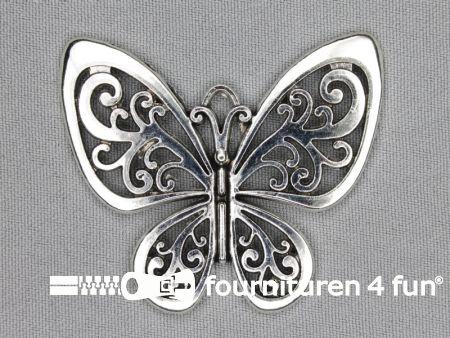 Steampunk hanger 56x46mm vlinder zilver