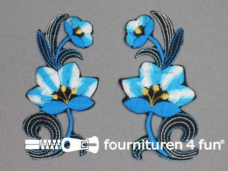 Bloem applicatie 100x47mm aqua blauw - per paar