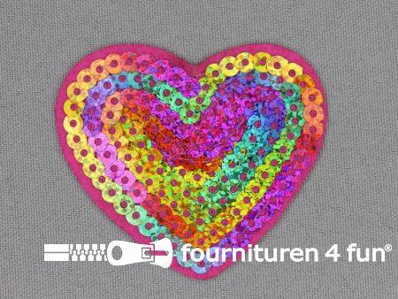 Pailletten applicatie 60x50mm multicolor hart hologram