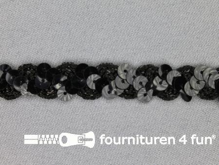 Pailletten band 14mm zwart