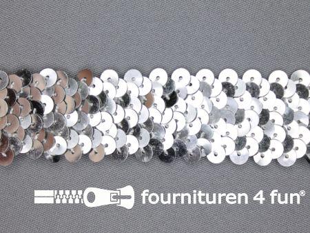 Elastische pailletten band 30mm zilver